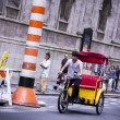 A rickshaw in New York traffic — Stock Photo