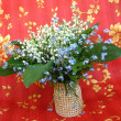 Bouquet of lilies of the valley and blue flowers — Stock Photo