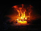 Fire wood burning in the furnace — Stock Photo