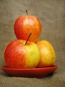 Apple on the brown background — Stock Photo