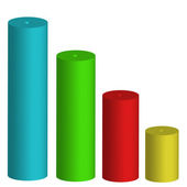 Four colored cylinder — Stock Photo