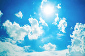 White clouds in sunny blue sky. — Stock Photo