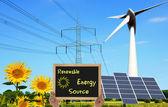 可再生能源的来源 — 图库照片