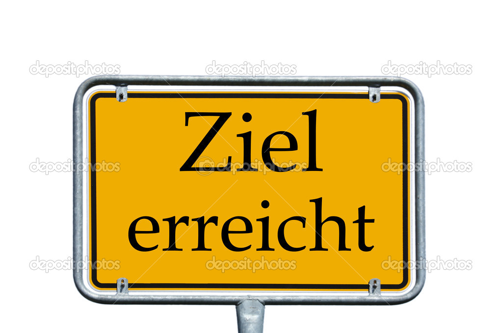 Sign with the german words target achieved — Stock Photo #11876933
