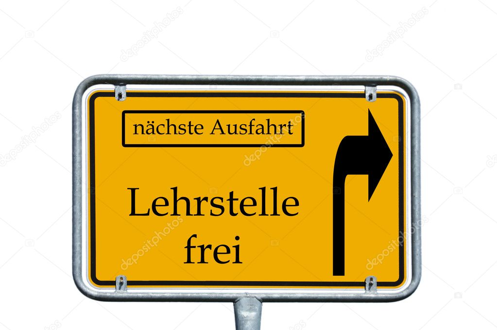 Sign with the german words next exit and Teaching vacancy — Stok fotoğraf #11877897