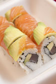 Sushi in a take-away container — Stock Photo
