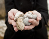 Woman holding pebbles — Stock Photo
