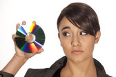 Woman with CD — Stock Photo