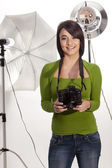 Gorgeous happy photographer — Stock Photo