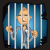 Prisoner in Jail — Stock Vector