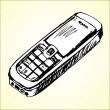 Cell phone sketch, vector illustration — Stock Vector