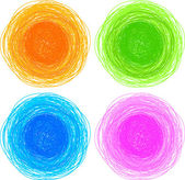 Pencil colorful hand drawn circles — Stock Vector