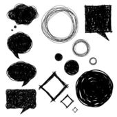 Set of hand drawn sketch bubbles — Stock Vector