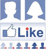 Vector set social media, facebook concept — Stock Vector