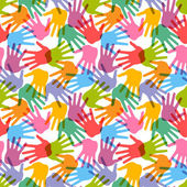 Seamless handprint pattern — Stock Vector