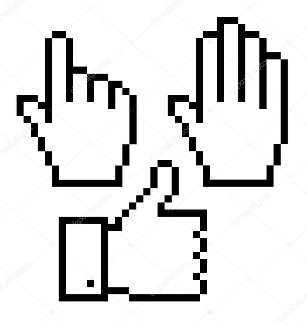Set of pixelated hand icons, vector  — Stock Vector #11740196