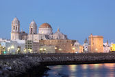 Cathedral in Cadiz illuminated at dusk, Andalusia Spain — Stock Photo