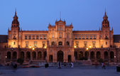 Spanish Square (Plaza de Espana) at dusk, Seville Spain — Stock Photo