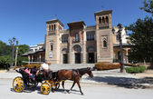 Horse drawn carriage in front of the Museum of Arts and Traditions in Seville, Andalusia Spain — Stock Photo