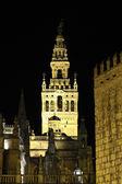La giralda oświetlone w nocy. Sewilla, Andaluzja, Południowa Hiszpania — Zdjęcie stockowe