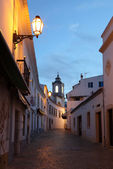 Street in the old town of Lagos at dusk. Algarve Portugal — Stock Photo