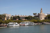 Sightseeing boats and Torre del Oro (English: Gold Tower) in Seville, Spain — Stok fotoğraf