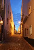 Rua na cidade velha de lagos ao entardecer. algarve portugal — Foto Stock