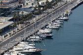 Strandpromenaden vid marinan i málaga, andalusien spanien — Stockfoto