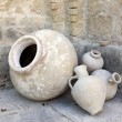 Stock Photo: Old terracottamphoras in monastery courtyard