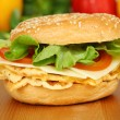 Closeup of a vegetarian bagel with omelet, cheese, tomatoes and salad — Stock Photo #12408285