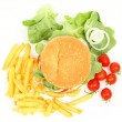 Fresh hamburger with french fries, salad and tomatoes — Stock Photo