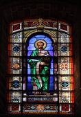 Window with Bartholomew the Apostle in the Cathedral of San Salvador, Jerez de la Frontera, Spain — Stock Photo
