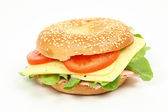 Fresh bagel sandwich over white background — Stock Photo