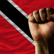 Hard fist in front of trinidad tobago flag symbolizing power — Stock Photo