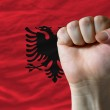 Постер, плакат: Hard fist in front of albania flag symbolizing power