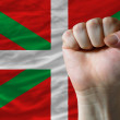 Hard fist in front of basque flag symbolizing power — Stock Photo