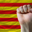 Hard fist in front of catalonia flag symbolizing power — 图库照片