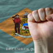 Us state flag of delaware with hard fist in front of it symboliz — Stock Photo