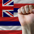 Us state flag of hawaii with hard fist in front of it symbolizin — Stock Photo