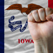 Us state flag of iowa with hard fist in front of it symbolizing — Stock Photo