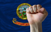 Us state flag of idaho with hard fist in front of it symbolizing — Stock Photo