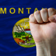 Us state flag of montana with hard fist in front of it symbolizi — Stock Photo