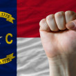 Us state flag of north carolina with hard fist in front of it sy — Stock Photo