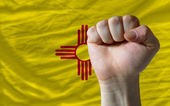 Us state flag of new mexico with hard fist in front of it symbol — Stock Photo