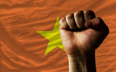 Hard fist in front of vietnam flag symbolizing power — Stock Photo