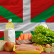 Stock Photo: Basic food groceries in front of basque national flag