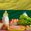 Basic food groceries in front of lithuania national flag — Lizenzfreies Foto