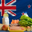Basic food groceries in front of new zealand national flag — Stock Photo #11033619