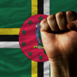 Hard fist in front of dominica flag symbolizing power - Stock Photo