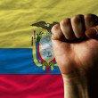 Hard fist in front of ecuador flag symbolizing power - Stock Photo